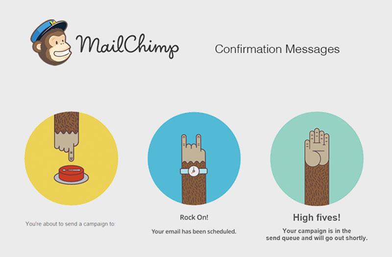 user experience exemplos mailchimp