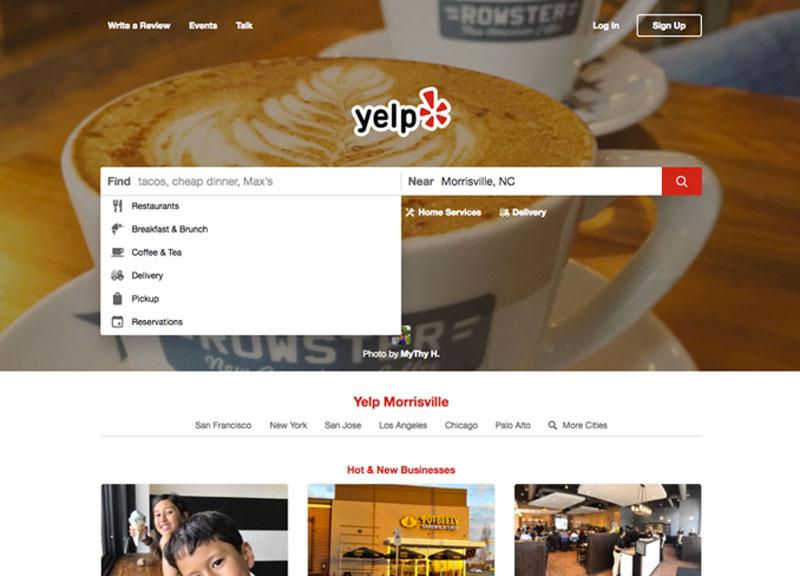 user experience exemplos yelp
