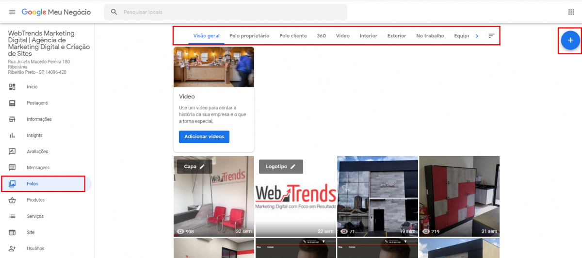 Como alterar as fotos da minha empresa no Google