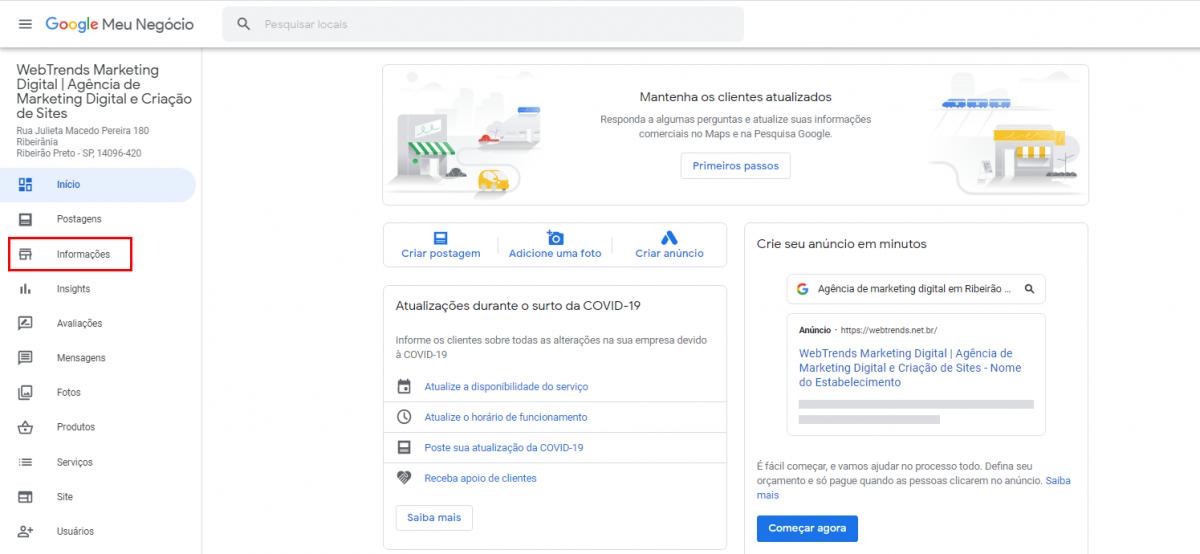 Como alterar os dados da minha empresa no Google