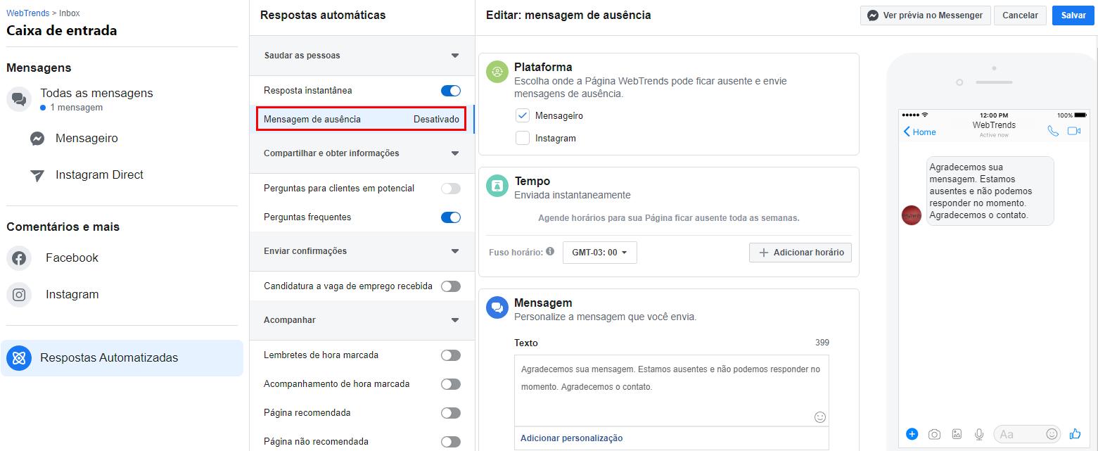 Programar mensagens automáticas de ausência